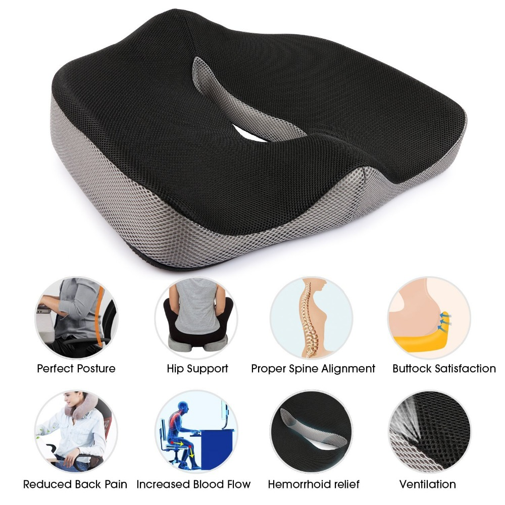 Hot Sale Chair Cushion Flexible Memory Sponge Buttock Cushion Bottom Seats Back Office Chair Orthopedic Seat Cushions Cojines