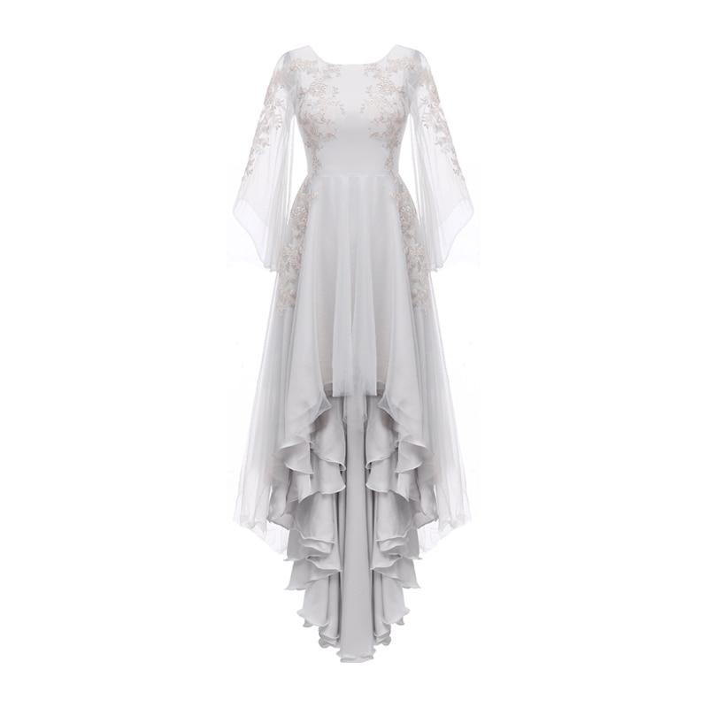 Sunvary High-Low Bröllopsklänningar 2018 Zipper Back Blond Flower - Bröllopsklänningar