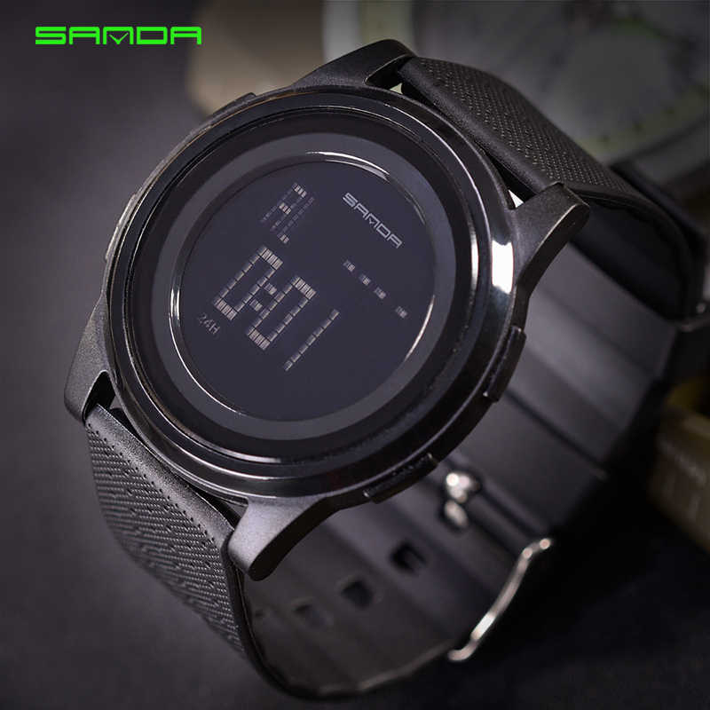 a9cef22f470 SANDA 337 Ultra Thin 9mm Sport Watch Men Brand Luxury Electronic LED Digital  Wrist Watches For