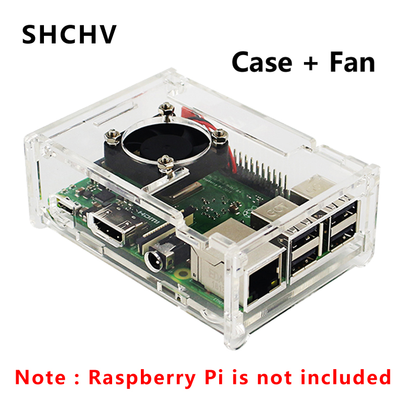 Raspberry Pi 3 Acrylic Case Transparent Box Shell With Cooling Fan Suitable For Raspberry Pi 3B+/3B/2B Pi3B Enclosure