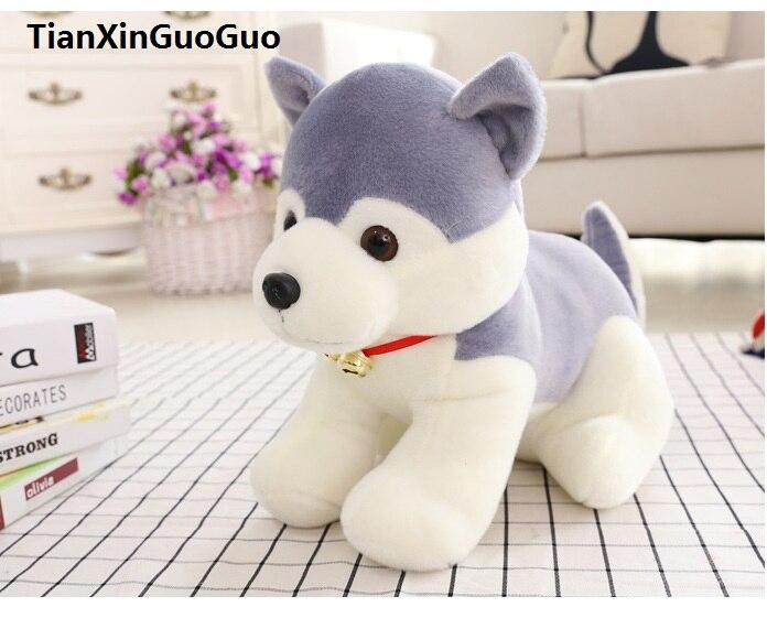 100% new lovely bell husky gray dog about 30cm soft plush toy Doll birthday gift b2651 big new plush lying husky dog toy high quality husky dog doll about 45cm