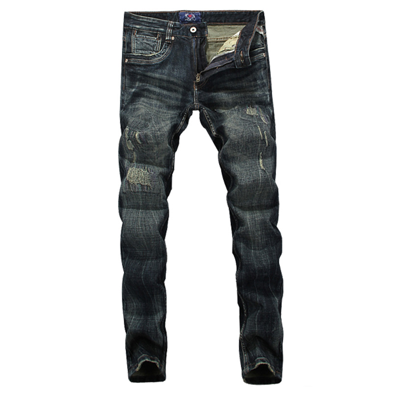 High Quality Italian Style Retro Design Men Jeans Slim Fit Vintage Distressed Ripped Jeans Mens Pants Skinny Biker Jeans Men retro design men jeans vintage style slim fit destroyed ripped jeans men high quality denim motor biker jeans skinny mens pants