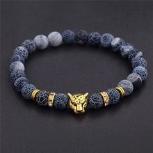 DUOVEI Weathering Stone Leopard Head Beaded Bracelet For Men 2018 New Fashion Natural Tiger Eye Onyx Lava Beads Bracelets