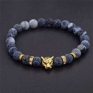 DUOVEI Weathering Stone Leopard Head Beaded Bracelet For Men New Fashion Natural Stone Tiger Eye Onyx Lava Beads Bracelets(China)