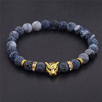 DUOVEI Weathering Stone Leopard Head Beaded Bracelet For Men New Fashion Natural Stone Tiger Eye Onyx Lava Beads Bracelets