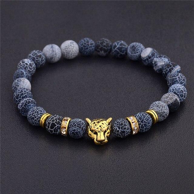 Natuursteen Luipaard Kralen Armband Voor Mannen