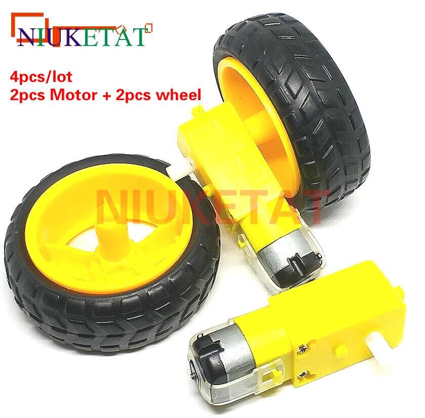 4pcs/lot=2pcs TT motor + 2pcs 65mm wheel DC3V-6V Motor 130 Gear motor with the wheel for Arduino Smart Car Robot TT Motor 3V-6V