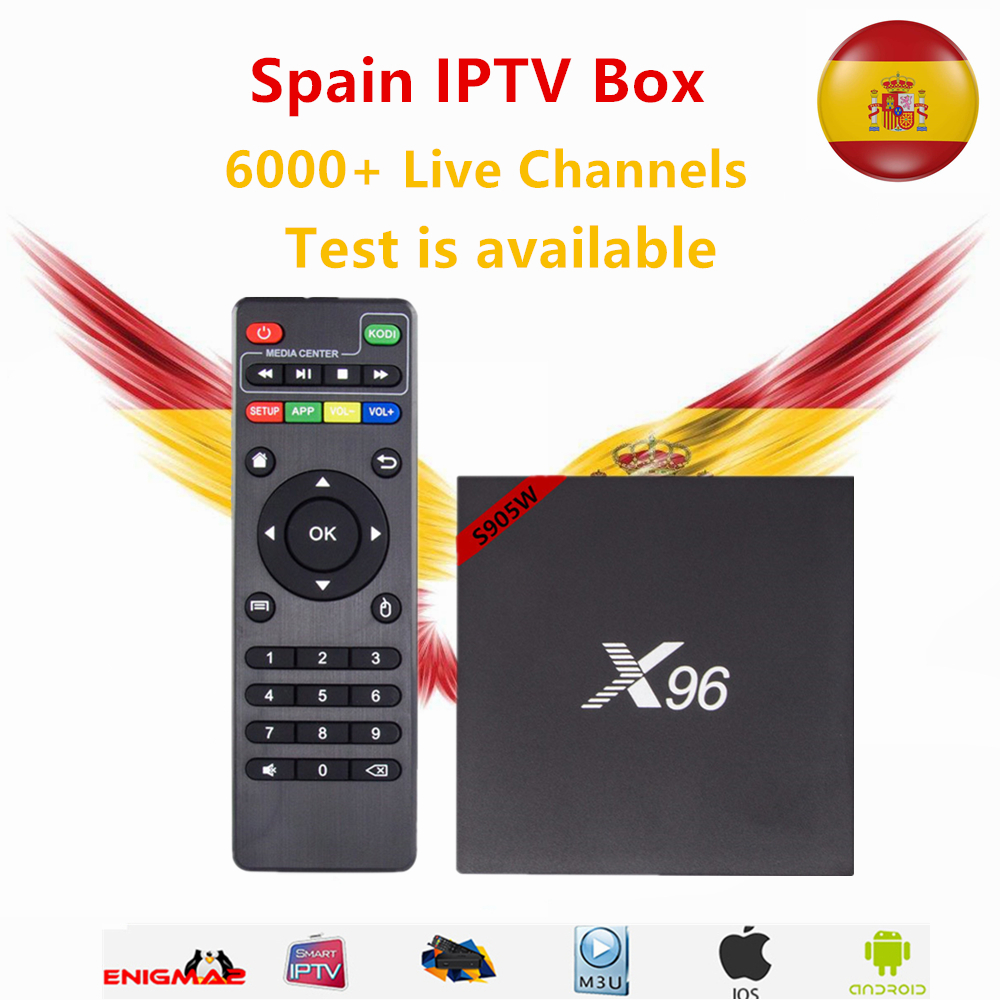 Spain IPTV Box 96 Android 7.1 TV Box S905w 1GB/8GB With 1 year iptv subscription DutchFrench Sweden Live TV for smart tv box