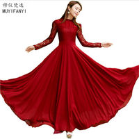 New 2015 Spring Autumn Elegant Vintage Lace Chiffon Long Dress Slim Long Sleeve Wine Red Party