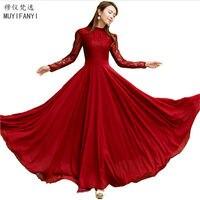 Nowy 2018 Wiosna Jesień Elegancki Vintage Lace Szyfonowa Długa Sukienka Z Długim Rękawem Slim Wine Red Party Maxi Sukienki Vestidos D036