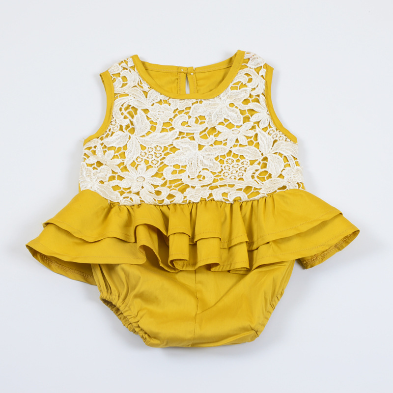 Everweekend Ins Fashion Baby Girls Floral Lace Ruffles Rompers Toddler Infant Kids Yellow Color Cute Clothing