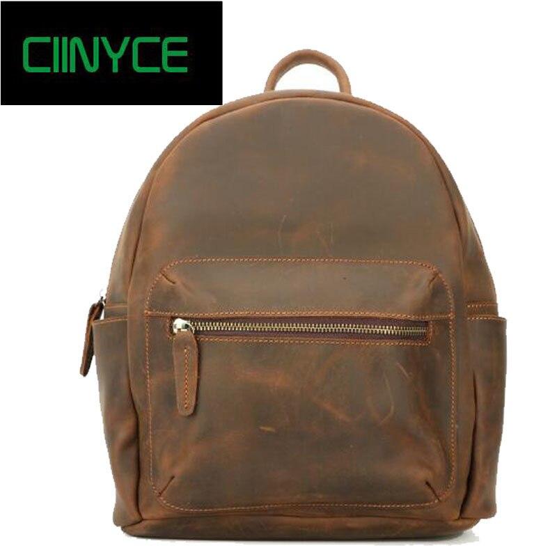 vintage crazy horse genuine leather back pack Retro mochilas escolares para adolescente meninas backpack school women man bag