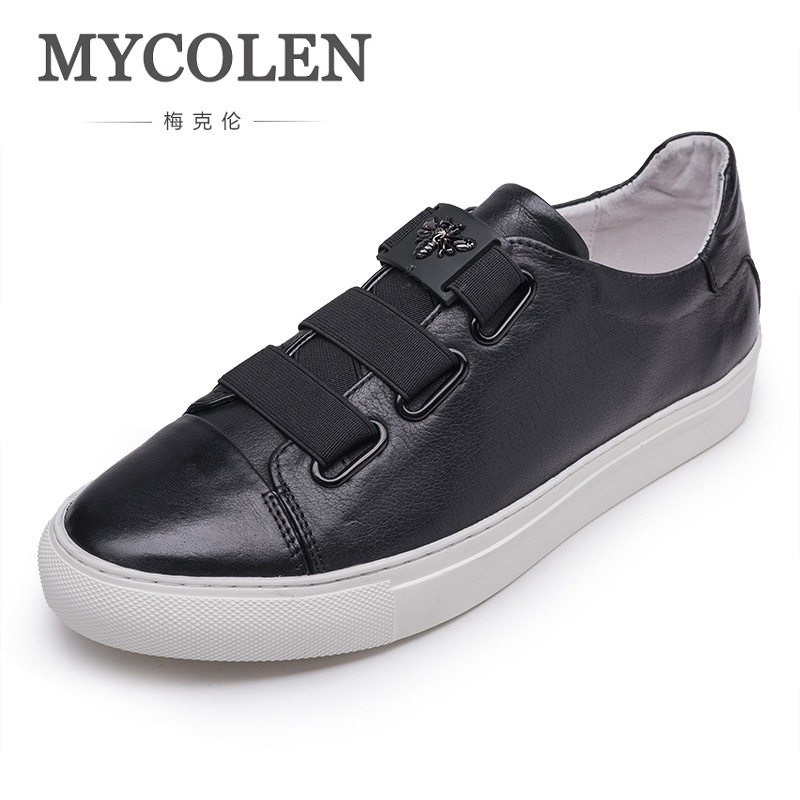 MYCOLEN The New Listing Summer Men's Fashion Casual Shoes Men Breathable Soft Leather Shoes Breathable Low Slip On Shoes dreambox in summer the han edition of the real leather breathable retro old system with low help men s casual shoe men s shoes