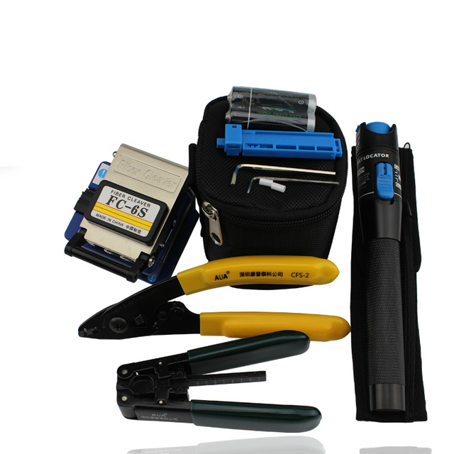 Fiber Optic Tools with FC-6S Optical Fiber Cleaver and Laser Tester Pen VFL 1mw and Cable Strippers