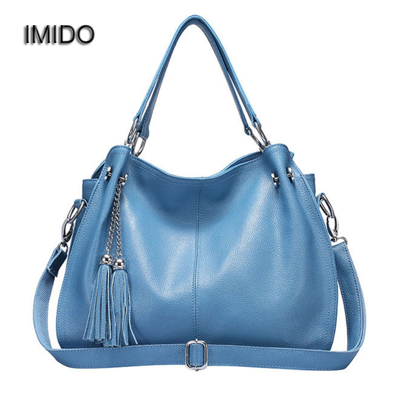 IMIDO Europe Large Capacity Real Split Leather Bags Ladies Brand Designer Bag Women Handbags Tote Shoulder Bag Blue bolsa HDG038 imido 2017 luxury brand designer women handbags leather shoulder bag retro tote daily bags for ladies gray bolsa feminina hdg008
