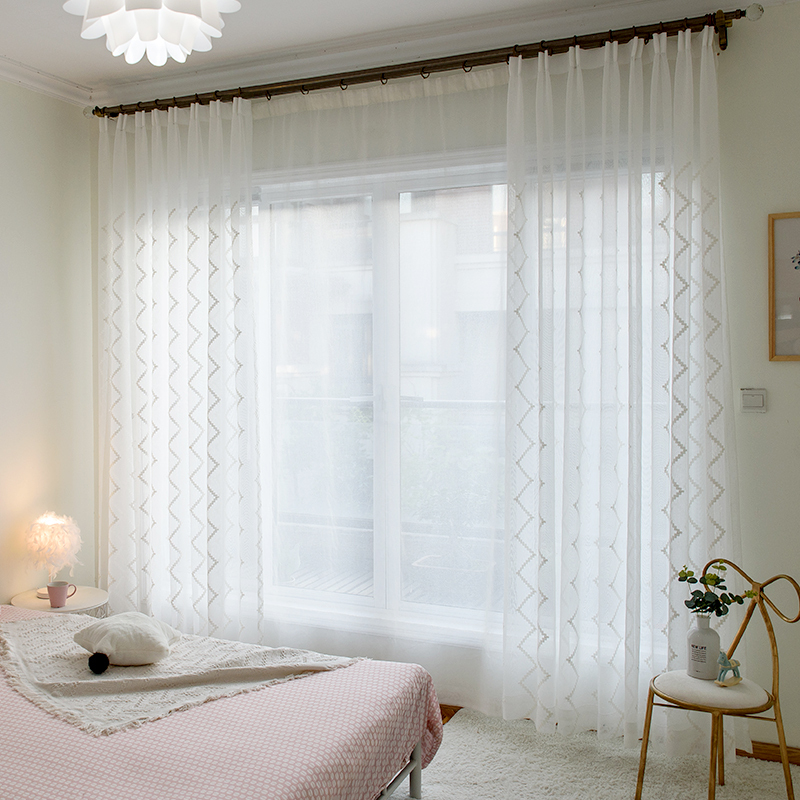 Cotton Colorful Helical line stripes Embroidered on white lace Sheer Fabric by Yard,Bedroom Velvet cotton curtain panels custom
