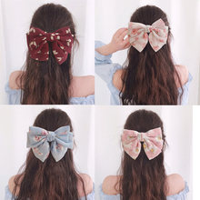 For Women High Quality Big Large Girls Hair Bow Broken Flower Chiffon Three Layers Barrette Spring Clips Accessories