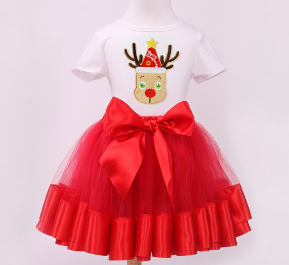 2PCs/Set Short Sleeve Christmas Outfit T-Shirt Red Width Tutu Skirt Baby Girl Little Kids New Year Party Clothes 12M-6T little j new fashion kids girl clothes set summer short sleeve love t shirt tops leather skirt 2pcs outfit children suit
