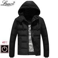 LOMAIYI Men's Winter Jacket Men Warm Heated Coat Male Heating Parka Mens Hooded Heating Jackets Waterproof Windbreaker AM361