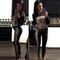 Leopardo Calças Sportswear fatos de Treino das Mulheres Zipper Camisola Hoodies Manga Longa 2 Peça feminina Conjunto de Roupas Trajes de Femme