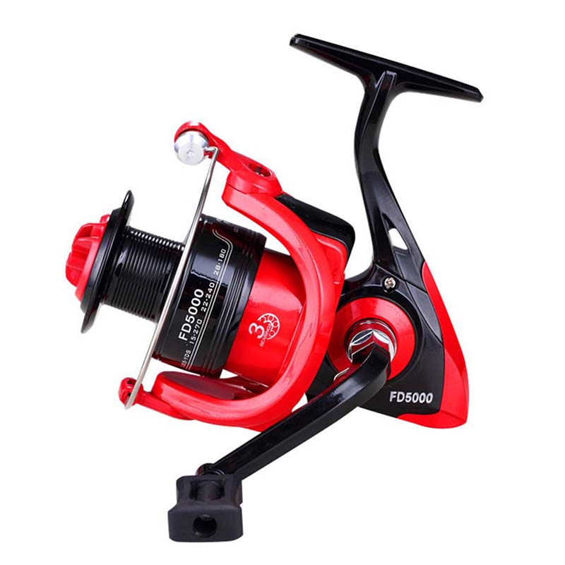 Plastic Fishing Reel Spinning Reel Handle FD1000-6000 Spinning Fishing Reel Durable Left And Right Hand Exchange Black With Red