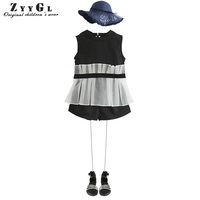 ZYYGL Children Clothing Summer New Girl Eugenia Sweet Lady Two Pieces British Fashion Baby Suits For