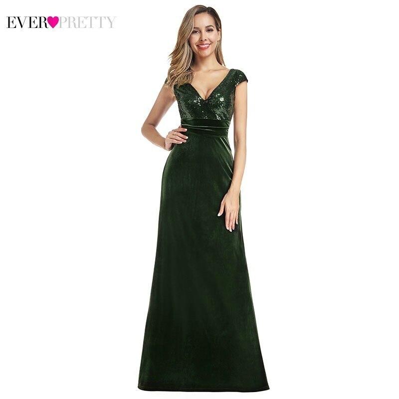 Sexy Dark Green Evening Dresses Long Ever Pretty EP00945DG V-Neck Velvet Sequined Formal Mermaid Dresses Abiye Gece Elbisesi