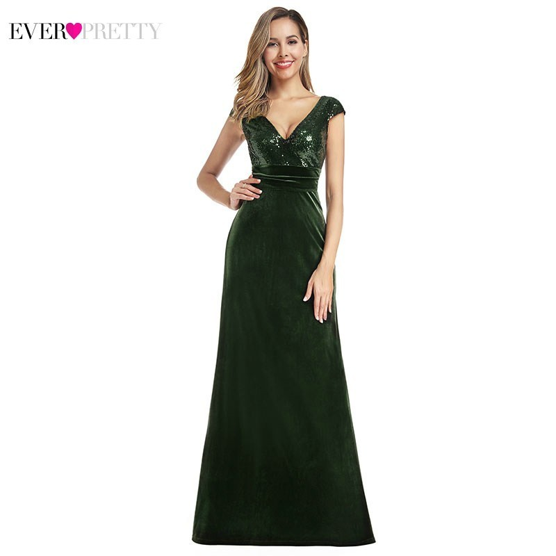 Sexy Dark Green Evening Dresses Long Ever Pretty EP00945DG V-Neck Velvet Sequined Formal Mermaid Dresses Abiye Gece Elbisesi