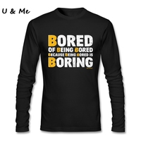 Going Out 3D Print T-Shirt Men SO BORING Long Sleeve Hipster Fit Tees Daily Wear Men Clothing