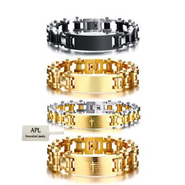 APL - Men's Multicolored Bible Cross New Bicycle Titanium Steel Bracelet Blank Curved Brand Bracelet Popular Jewelry