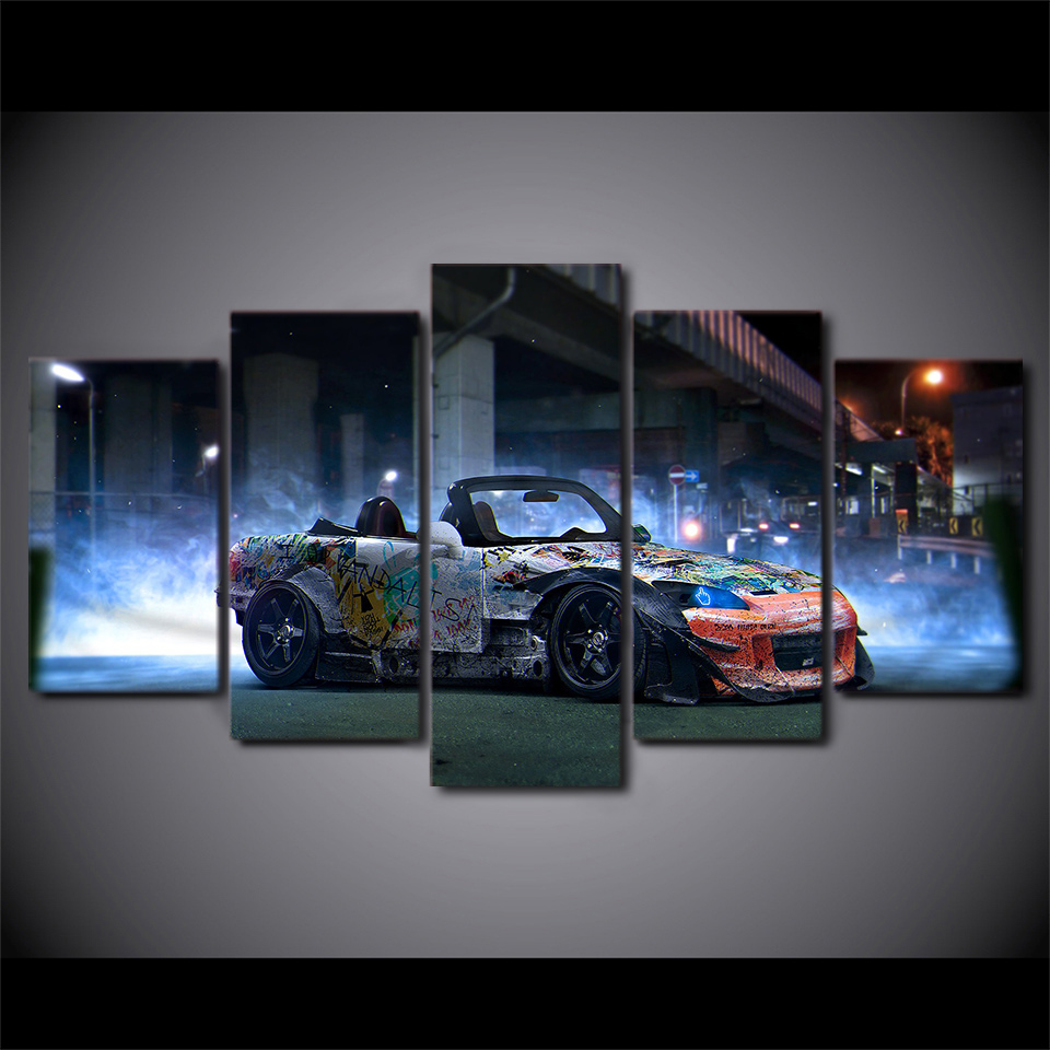 5 Pcs/Set Framed HD Printed Psychedelic Car Picture Wall Art Canvas ...