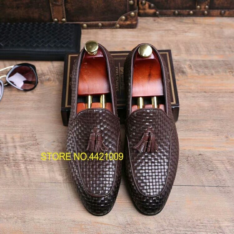 Tassels Men Knitted Leather Oxfords Slip On Business Oxfords Shoes Flats Coffee Dress Wedding Oxfords Shoes ManTassels Men Knitted Leather Oxfords Slip On Business Oxfords Shoes Flats Coffee Dress Wedding Oxfords Shoes Man