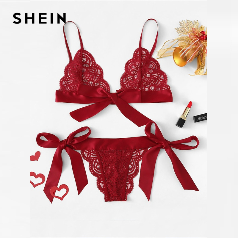 SHEIN Lace Sexy Lingerie Set Hot Women Sleepwear V Neck Sleeveless Lace Scallop Bralette And Pantie Intimate Lingerie