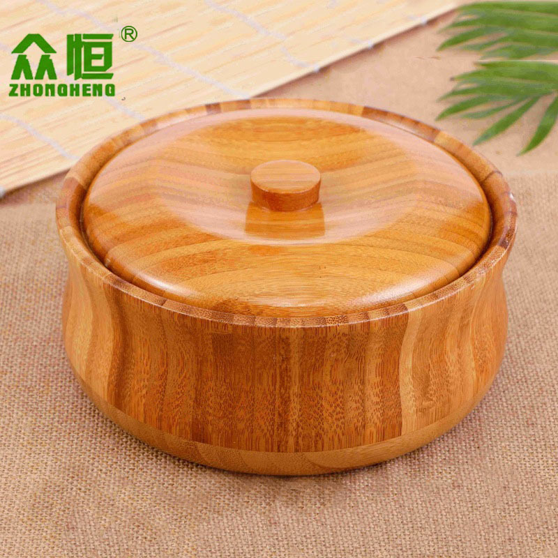 Bamboo Bowl Lid Primitive Handmade Beer Rice Water Househould Eco-Friendly Milk Tea Noodles Natural Fine New Pattern Spruce