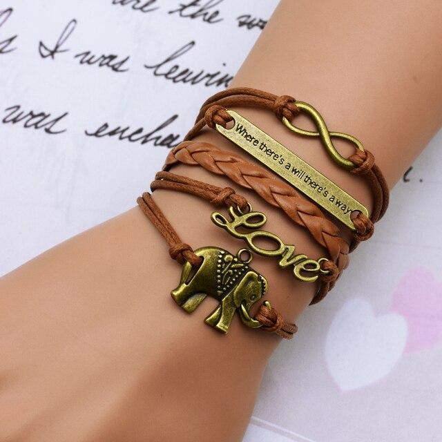 elephant woven bracelet lucky 8 word combinations leather bracelet