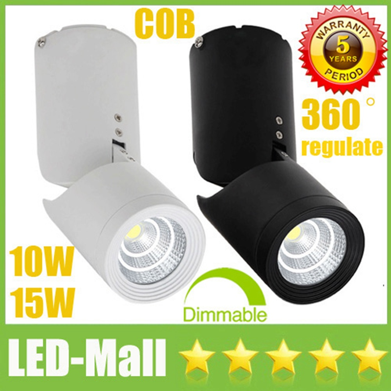 360 degree Surface Mounted COB 10W 15W Dimmable LED Downlights 110-240V Tiltable Fixture Ceiling Display Shop Down Lights Lamps