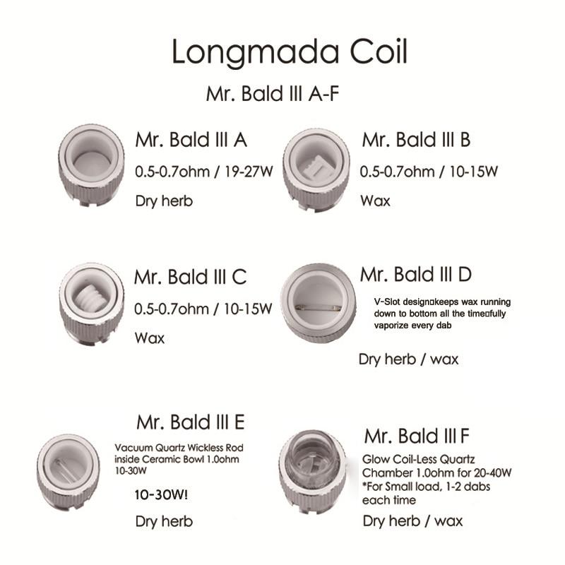 Original Longmada Mr bald iii III 510 atomizer tank For Wax Dry Herb Vape Pen Ceramic Heating Coil Chamber for mech mod