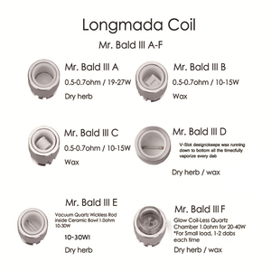 Image 5 - Original Longmada Mr bald iii III 510 atomizer tank For Wax Dry Herb Vape Pen Ceramic Heating Coil Chamber for mech mod