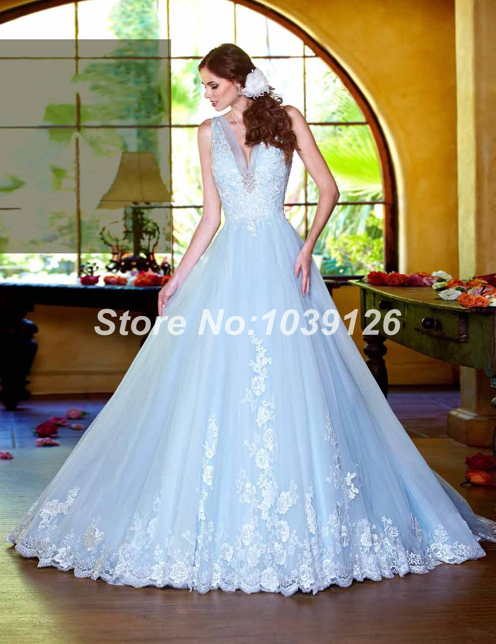 Online shop free shipping new fashion royal elegant sleeveless online shop free shipping new fashion royal elegant sleeveless zipper unique sky blue lace long wedding dresses 2015 aliexpress mobile ombrellifo Image collections