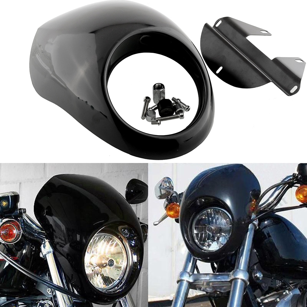 ФОТО Motorcycle Gloss Black Headlight Plastic Front Visor Fairing Cool Mask For Harley Dyna Sportster FX XL