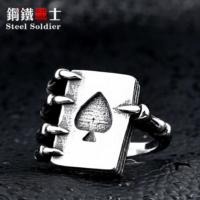 De aço soldado de aço inoxidável dos homens de poker estilo dragon claw anel de aço de titânio jóias da moda personalidade