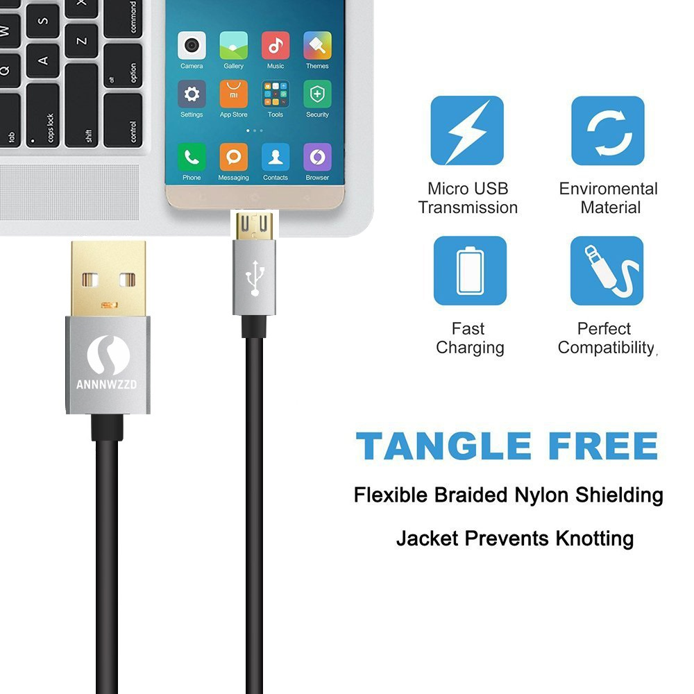 Micro USB Cable Gray 1m 2m Fast Charging Data Cable for Samsung Galaxy S7 S6 S5 Xiaomi Huawei Universal Android Phone Charger