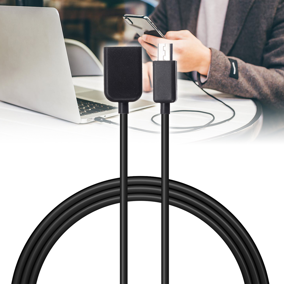 100 см кабель для передачи данных Шнур Стандартный Micro USB 2,0 Тип A мужчин и женщин зарядное устройство с удлинителем зарядный кабель черный