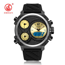 цена на NEW OHSEN Fashion Quartz Digital Watch Mens LED Waterproof Sport Watch Men Rubber Band Yellow Dial Dual Time Wristwatch Relogios