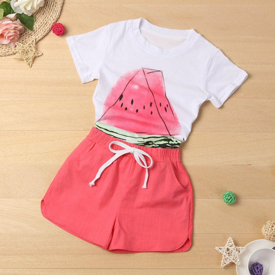 New Design Cute Toddler Kid Baby Girl Small Watermelon Shirt+Shorts Clothes Outfit 2PCS Set Comfortable Touch High Quality