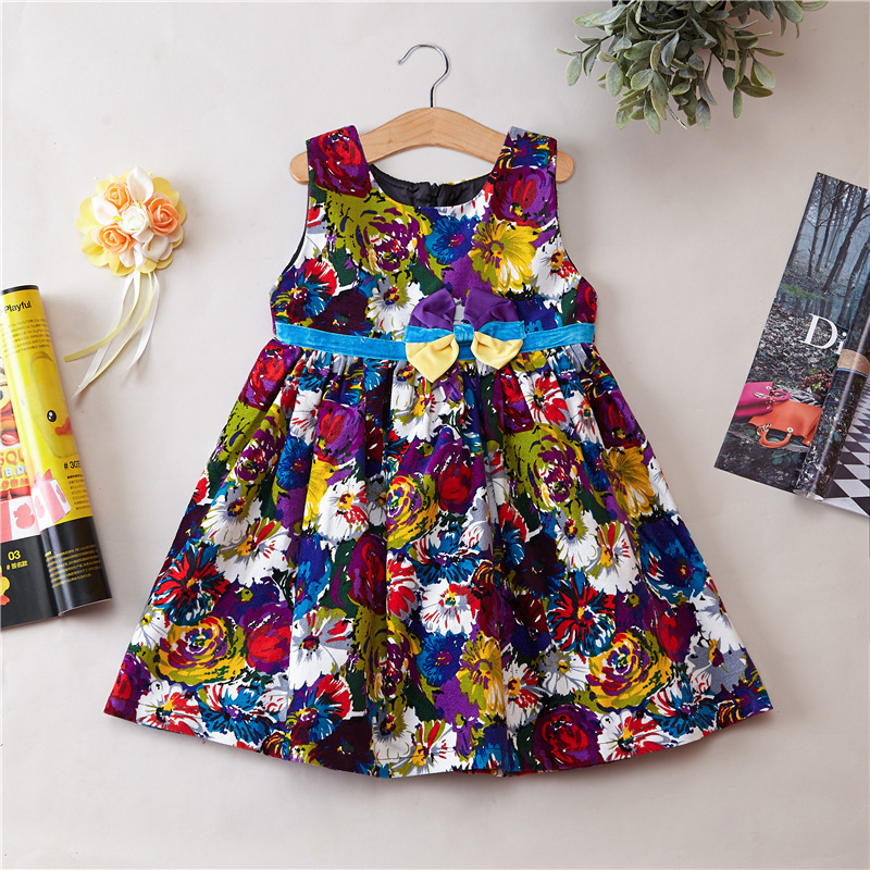 Flower Girl Dress Corduroy Bow Sleeveless Dress Autumn and winter dress Spring princess dress party wear