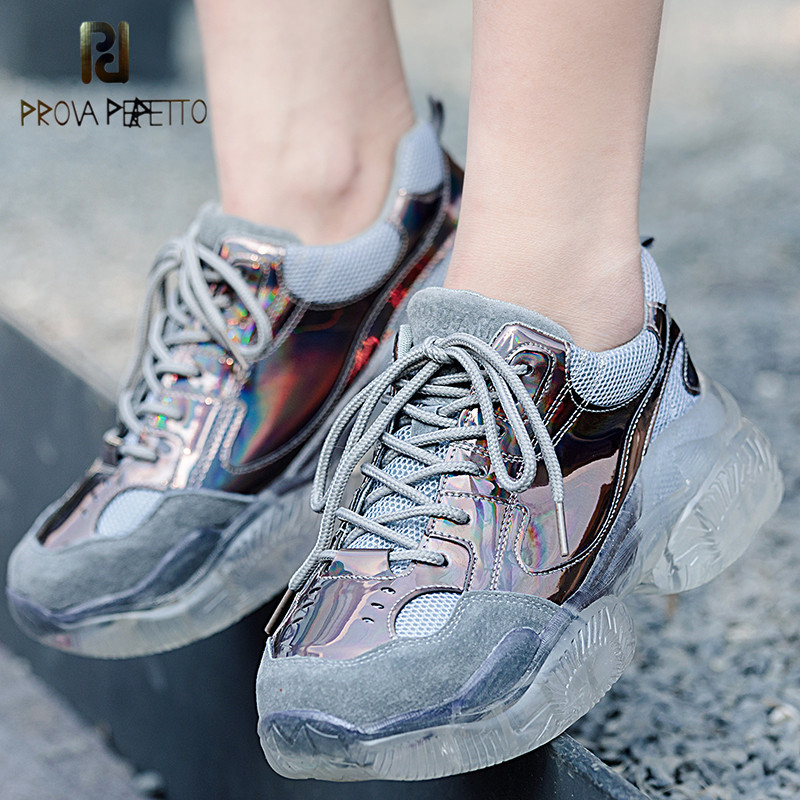 Prova Perfetto Women s Sneakers Shoes Woman Spring Autumn Pink Shiny Bling Vulcanize Shoes Flats Glinted