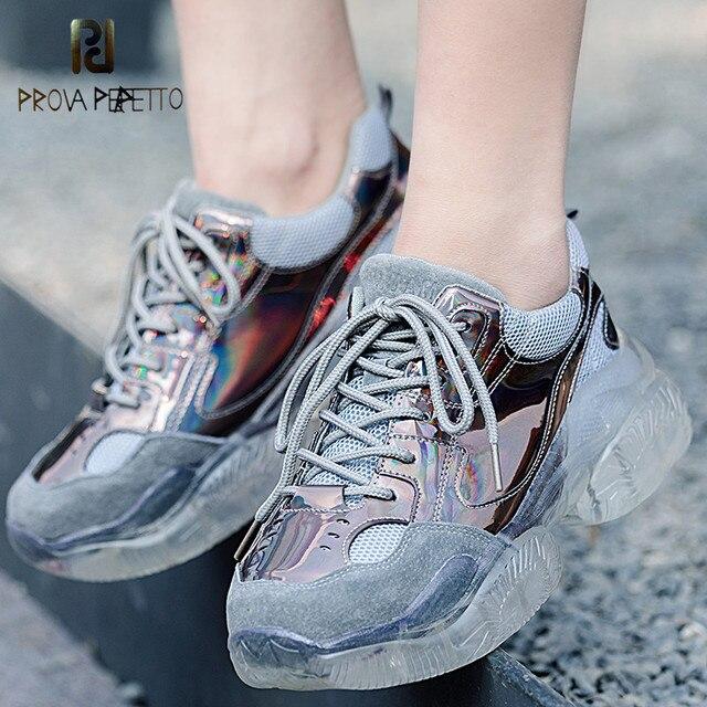 Prova Perfetto kadın Sneakers Ayakkabı Kadın Bahar Sonbahar Pembe Parlak Bling Vulkanize Ayakkabı Daireler Glinted PU Lace Up Sneakers