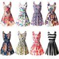 Fashion Summer Women Beach Chiffon Black Dress Sleeveless Sundress Sexy Ladies Floral Tank Party Evening Mini Dress S-XXL Hot