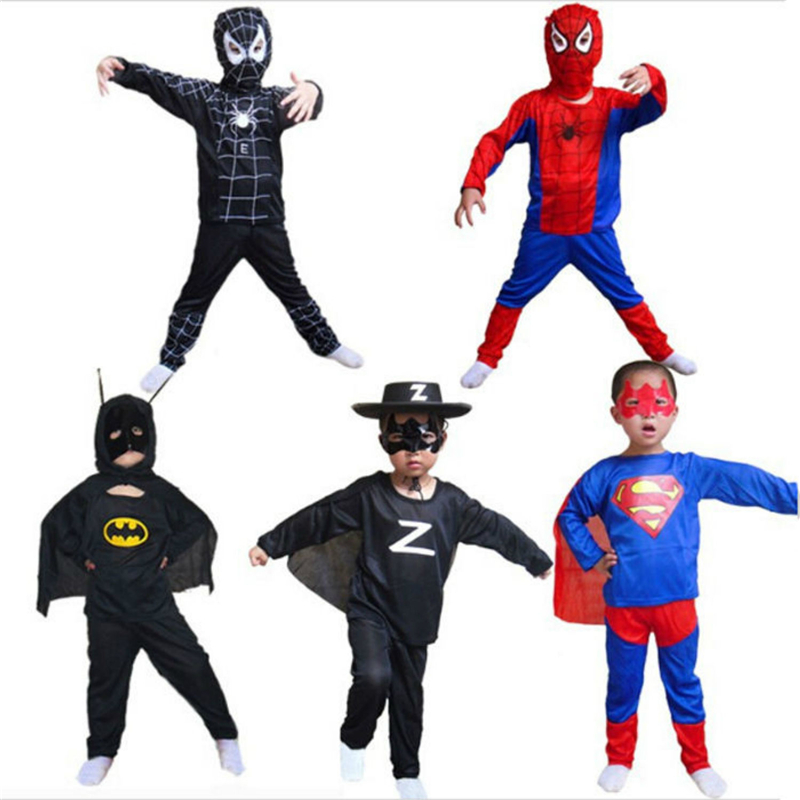 Red spiderman Anime black Children's Sets batman superman halloween Toys for kids superhero capes anime cosplay carnival costume цены онлайн